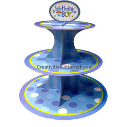 BLUE HAPPY BIRTHDAY CARDBOARD CUPCAKE STAND