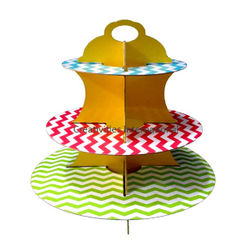 MULTI COLOR ZIG-ZAG LINES CARDBOARD CUP CAKE STAND