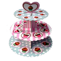MULTI COLOR DOTTED CARDBOARD CUP CAKE STAND