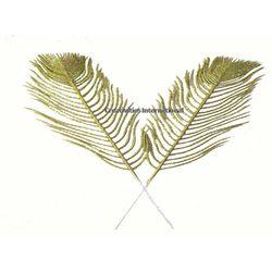GREEN LONG GLITTER LEAVES