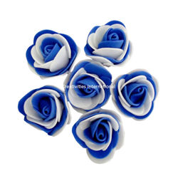 BLUE & WHITE DOUBLE SHADED FOAM FLOWERS(BIG)
