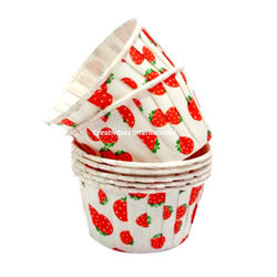 Strawberry Design White Cup Cake Liner (Big) - Ready To Bake