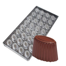 Fluted Oval Shape Polycarbonate Chocolate Mold