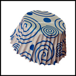 Chocolate Liners Blue Swirl Design_7 cm