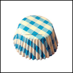 Cupcake Liners Blue Checker Board _9 cm