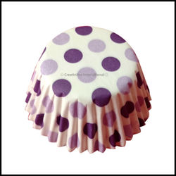 Cupcake Liners Purple Base Polka Dots_9 cm