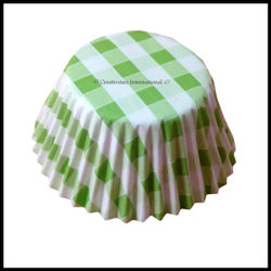 Cupcake Liners Green Checker Board _10 cm