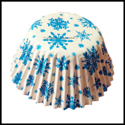 Cupcake Liners Blue Snowflakes Design_10 cm