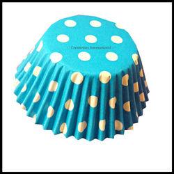 Cupcake Liners Blue Base Polka Dots_10 cm