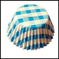 Cupcake Liners Blue Checker Board_10 cm