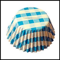 Cupcake Liners Blue Checker Board_11 cm