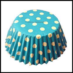 Cupcake Liners Blue Base Polka Dots_12 cm