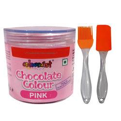Combo - ColourMist Chocolate Powder Color Pink, Slicone Spatula & Brush