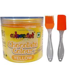 Combo - ColourMist Chocolate Powder Color Yellow, Silicone Spatula & Brush