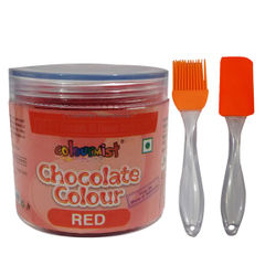 Combo of ColourMist Chocolate Powder Color Red , Silicone Brush & Spatula