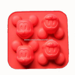 4 cavity Mickey Mouse Cup cake Mould
