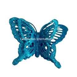 Blue Jaali Pattern Glitter Butterfly
