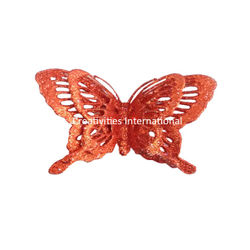 Red  Jaali Pattern Glitter Butterfly