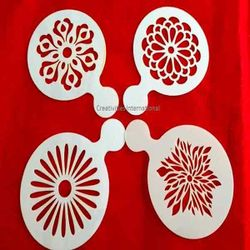 Designer Embossed Flower Design Stencils