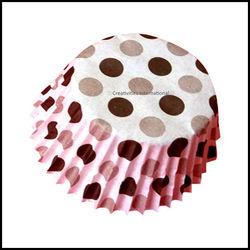 Cupcake Liners Black Base Polka Dots_10 cm