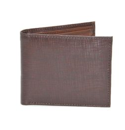 BROWN TEXTURED PRINT ITALIAN LEATHER WALLET