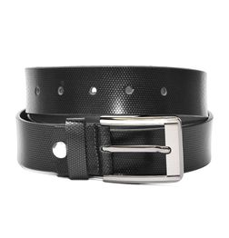 PATTERN EMBOSSED BLACK LEATHER BELT