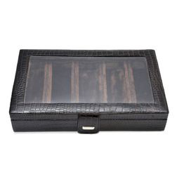 ALLIGATOR PRINT LEATHER CLEAR TOP SUNGLASS STORAGE CASE