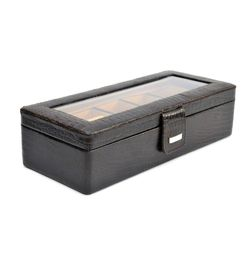 ALLIGATOR PRINT LEATHER CLEAR TOP WATCH STORAGE BOX