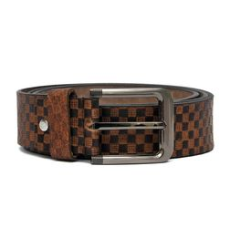 GENUINE LEATHER CASUAL BELT IN CHECKERED PATTERN