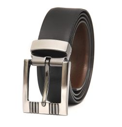 BLACK-BROWN REVERSIBLE LEATHER BELT