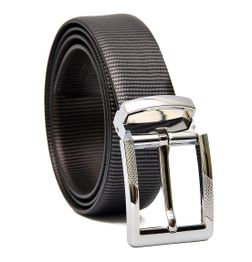 METALLIC LINES ITALIAN LEATHER BELT  WITH CHROM FINISH DESIGNER BUCKLE