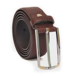 MEN'S LIZARD EMBOSSED SLEEK REDDISH BROWN LEATHER BELT