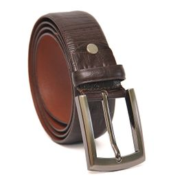CROC PRINT GENUINE LEATHER MENS BELT BROWN