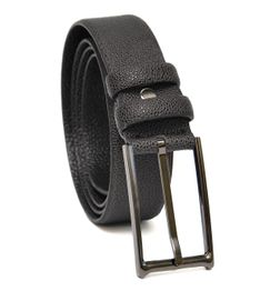 LIZARD EMBOSSED SLEEK BLACK LEATHER BELT