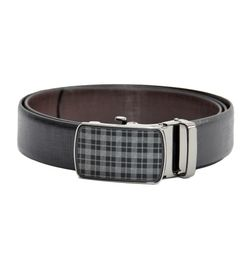 HIDEMARK REVERSIBLE LEATHER BELT WITH PLAID AUTO LOCK BUCKLE