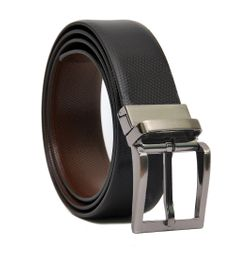TEXTURED BLACK-BROWN LEATHER BELT FOR MEN WITH TURN BUCKLE