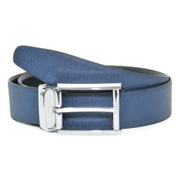 TEXTURED BLACK-BLUE REVERSIBLE LEATHER BELT