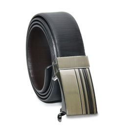 BLACK-BROWN REVERSIBLE LEATHER BELT WITH TURN AUTOLOCK BUCKLE
