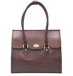 BROWN CROC EMBOSSED LEATHER HANDBAG