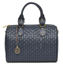 HIDEMARK HAND CRAFTED MESH PATTERN LEATHER SATCHEL HANDBAG- BLUE