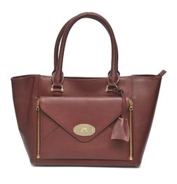 BURGUNDY LEATHER TOTE BAG WITH ENVELOPE FRONT POCKET