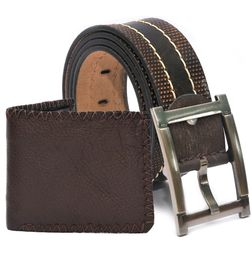 HIDEMARK BROWN LEATHER CASUAL BELT AND WALLET - GIFT FOR MEN