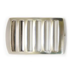 SILVER TONE LINES BOX FRAME BUCKLE