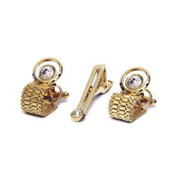GOLD TONE CRYSTAL CUFFLINKS AND TIE PIN SET