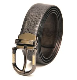 REVERSIBLE LEATHER BELT WITH DRESSY GREY TONE BUCKLE