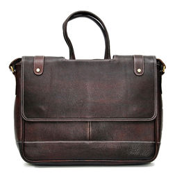 DESIGNER BROWN LEATHER OFFICE LAPTOP/MACBOOK MESSENGER BAG - 16 inch