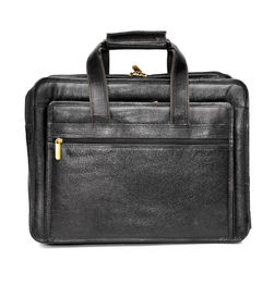 DESIGNER BLACK LEATHER OFFICE LAPTOP/MACBOOK MESSENGER BAG - 16 inch