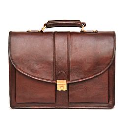 BROWN LEATHER LAPTOP BAG ROUND FLAP