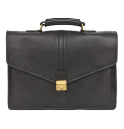 HIDEMARK BLACK LEATHER LAPTOP BAG V FLAP