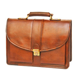 TAN LEATHER LAPTOP BAG ROUND FLAP